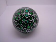 STUDIO  GLASS PAPERWEIGHT FOILED GREEN WITH BLACK AND WHITE WEBBING DESK ITEM