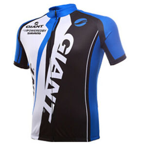Giant Clothes Outdoor Sports sleeve Cycling Jersey Shorts Full Zip Blue White