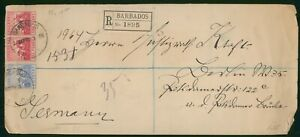 Mayfairstamps Barbados 1909 to Germany Registered Cover wwp79645