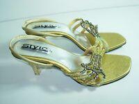 WOMENS GOLD RHINESTONE SLINGBACK WEDDING SANDALS HIGH HEEL SHOES SIZE 6 6.5 M