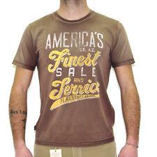 T-shirt uomo MCS Marlboro Classics con stampa manica corta marrone 3590