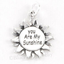 YOU ARE MY SUNSHINE Pendant Charm Sterling Silver Sun 925 .925