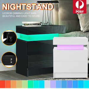 Bedside Tables White Side Table Drawers RGB 16 LED Colours High Gloss Nightstand