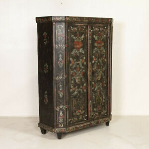 Antique Original Floral and Heart Painted Armoire Cupboard from Germany