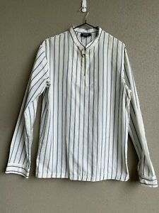 A.P.C. Mens Blue White Stand Collar Cotton Striped Shirt Size S