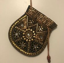 New listing Gold tone Beaded pull string bag