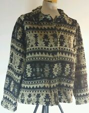 Chico's Design Jacket Size 1 (Medium) Tribal Southwestern Aztec Black Beige