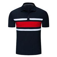 Fashion Men Patchwork Polo Shirt Short Sleeve Striped Cotton T Shirt Casual Tops