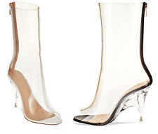 S387 - Ladies Perspex Clear Peep Toe High Heeled Ankle Boots - UK 3-8