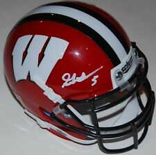 GRAHAM MERTZ signed (WISCONSIN BADGERS) RED mini football helmet W/COA #2 C