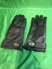 Mulberry Ladies Nappa Leather Gloves size L Black Postman Lock.