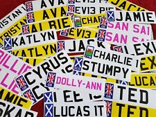 1 or 2 Personalised kids NUMBER PLATE stickers for child's ride On toy car jeep