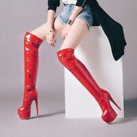 Women's Zip Stiletto High Heel Platform Over Knee Boots Party Shoes UK Size 1-12