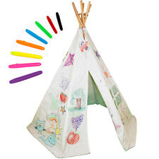 Colour In Playhouse Teepee, Colour Your Own Wendy House Wigwam and Wash-Out Pens