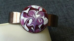 Copper Cuff Bracelet With Purple and White Enamel Disc