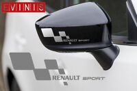 RENAULT SPORT SILVER VINYL SYMBOL MIRROR DECALS STICKERS GRAPHICS x2