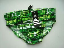 Adidas Green Infinitex Stained Glass Men's Nylon Swim Brief Swimsuit NWT Size 34