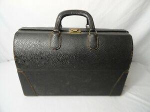 Vintage Doctors Black Leather Hard Shell Travelers Bag Case