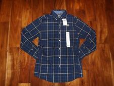 NWT Mens CHAPS Navy Blue Button Front Plaid Dress Shirt Long Sleeve 3XL XXXL $55