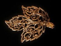 petit ornement, boucle de ceinture vintage 80 feuille dorée - retro belt buckle