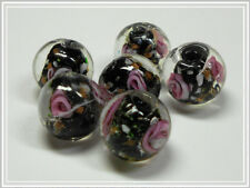 6 Lampworkperlen rund schwarz Rose 12mm Glasperlen Perlen