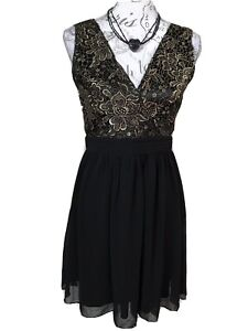 LITTLE MISTRESS UK 10 - 12 Gold & Black Banded Fit & Flare Party Dress Xmas Sexy