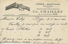 CARTE POSTALE PUBLICITAIRE / DIJON 1930 ARMES MUNITIONS ARTIFICES / M. CHAILLET