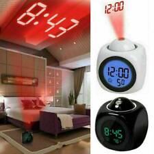 Voice Timekeeping Alarm Clocks LED Projection LCD Digital Display Multi Function