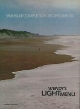 1986 Wendy's Vintage Print Ad Page Fast Food Advert Light Menu Beach