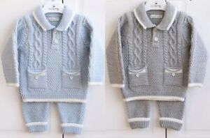 Baby Boys Clothes Knitted Cable Knit Traditional Spanish Romany Style Blue Set