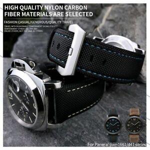 24 26 mm Nylon Carbon Fiber Watch Band Strap Fit For PANERAI Luminor PAM Watch