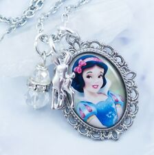 Princess Snow White Necklace - Handmade Jewelry - Crystal and Rhinestone - Deer