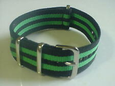 Black/Green  Bond  Nylon military 20mm strap fits TIMEX Weekender & ZULU watch