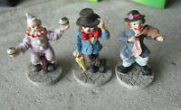 "Lot of 3 Small Resin Clown Figurines 2 1/4"" Tall"