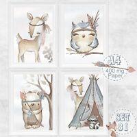 4 x Kinderzimmer Babyzimmer Bilder Set Boho Wald Tiere Reh Bild | DIN A 4 | S 31