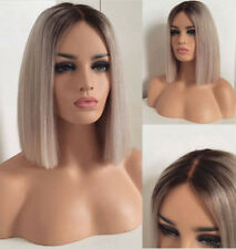 """14"""" Synthetic Fiber Hair Ombre Grey Lace Front Wig Short Straight Cosplay"""