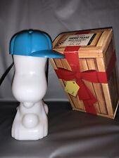 Vintage 1969 Avon Baseball Cap Snoopy Milk Glass Cologne Bottle Full!