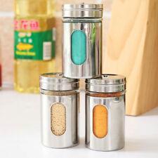 1Pcs Salt Pepper Sugar Shaker Dredge Dispenser Bottle Can Stainless Steel Tools