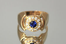 1.50 Ct Halo Sapphire Unique Statement Mens Wedding Band Ring 14k Yellow Gold