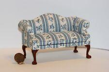 Dollhouse Miniature Upholstered Bue & Cream Stripe Sofa