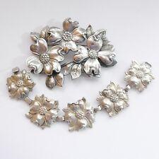 Art Deco Sterling Silver Brooch & Bracelet Set by Cini for Black Starr & Gorham