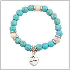 Boho Turquoise Color Bead Love Charm Stretch Bracelet