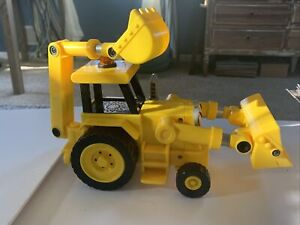 Bob the Builder SCOOP Backhoe Tractor Toy 2001 Hasbro Yellow Toy Digger Bulldoze
