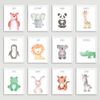 Safari Jungle Animals Nursery Prints Set Baby Kids Room Pictures Wall Art Decor