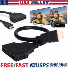 New HDMI 1080P Port Male to 2Female 1 In 2 Out Splitter Cable Adapter Converter