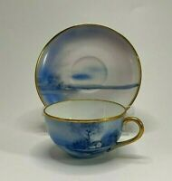 RARE Blue  Antique 1918 Noritake Tree In Meadow Demitasse Cup & Saucer