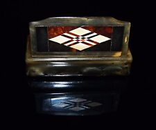 Antique Hand Carved Wooden Snuff Box Diamond Lacquered Harlequin Inlay Pattern