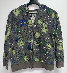 The Childrens Place Boys Fleece Hooded Sweatshirt Jacket  L 10 12 Gray Monsters