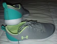 Womens 7 . 5 or child 5.5 Under Armour sneakers shoes gray turquoise