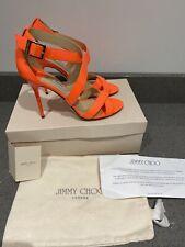Jimmy Choo Lottie High Heels Neon Orange Patent Leather Size Uk 7 Eu 40 New